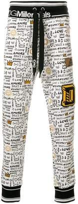 Dolce & Gabbana graffiti print track pants