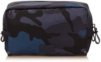 Valentino Pre-Loved Blue Nylon Fabric Camouflage Pouch Italy
