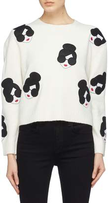 Alice + Olivia 'Gleeson' Stace Face appliqué boxy sweater