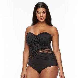 Apt. 9Plus Size Apt. 9® Crossover Mesh Bandeau One-Piece Swimsuit