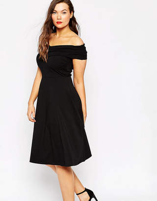 Asos Midi Skater Dress With Bardot Cross Front
