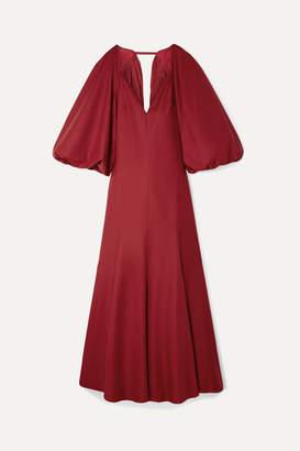 KHAITE Joanna Cape-effect Open-back Cotton-poplin Maxi Dress - Claret