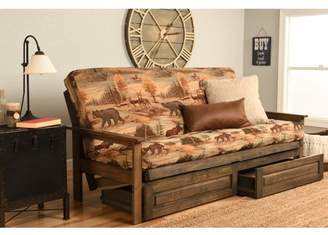 Albany Futon with storage in Rustic Walnut Finish, Multiple Colors