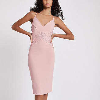 River Island Womens Light pink lace insert bodycon midi dress