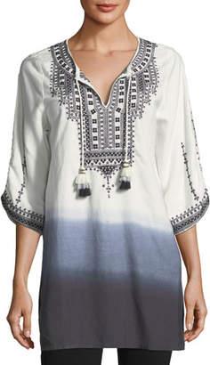 Tolani Aria Embroidered Tie-Dye Tunic