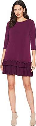 ECI New York Women's Long Sleeve Easy to wear Stretch Knit Ruffle Hem Dress