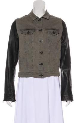 Rag & Bone Leather & Denim Button-Up Jacket