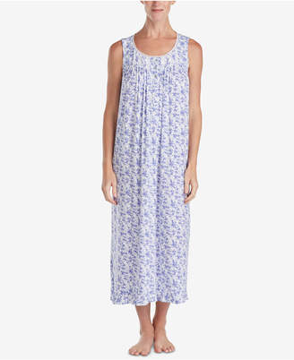 Eileen West Ballet Lace-Trim Ruffle-Hem Knit Nightgown