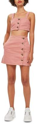 Topshop Horn Button Denim Miniskirt