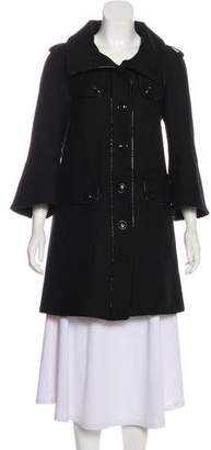 Burberry Virgin Wool Leather-Trim Coat