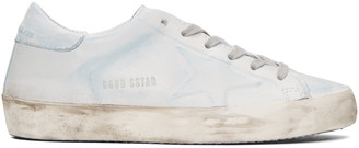 Golden Goose Blue & White Superstar Sneakers $530 thestylecure.com