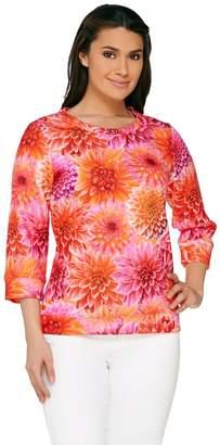 Isaac Mizrahi Live! Photoreal Floral Printed Pullover