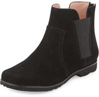 Taryn Rose Jervin Flat Nubuck Ankle Boot, Black $269 thestylecure.com
