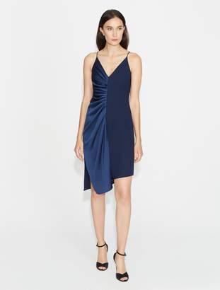 Halston Satin Crepe Slip Dress with Gathers