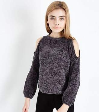 New Look Girls Dark Grey Chenille Cold Shoulder Jumper