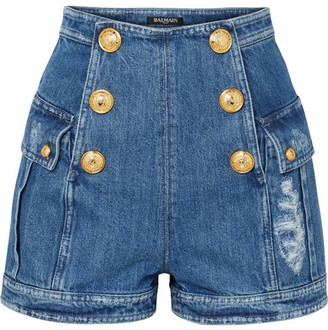 Balmain Button-embellished Distressed Denim Shorts - Blue