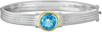 14k Gold & Sterling Silver 1/10-ct. T.W. Diamond & London Blue Topaz Bangle Bracelet