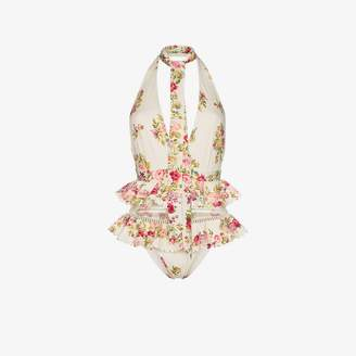 Zimmermann Honour ruffled floral swimsuit