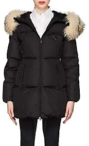 Prada Women's Fur-Trimmed Hooded Puffer Coat - Black