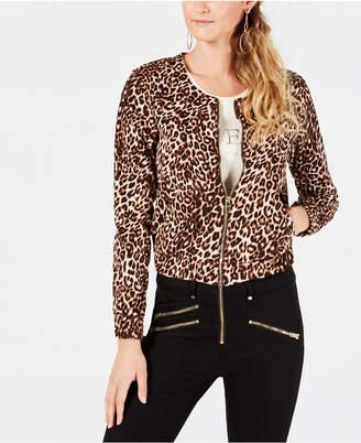 GUESS Leopard-Print Bomber Jacket