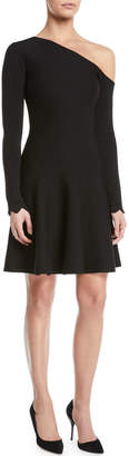 Oscar de la Renta One-Shoulder Long-Sleeve Fit-and-Flare Short Knit Dress