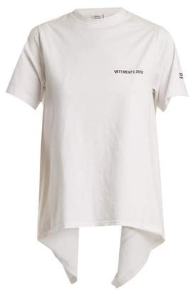 Vetements - Open Back Crew Neck T Shirt - Womens - White Print