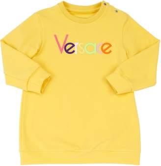 Versace Logo Embroidered Cotton Sweatshirt Dress