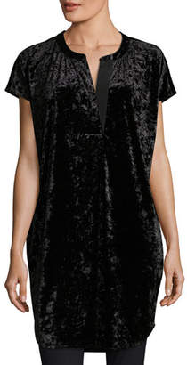 Joan Vass Crushed Stretch Velvet Relaxed Cap-Sleeve Tunic