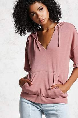 Forever 21 French Terry Hooded Top