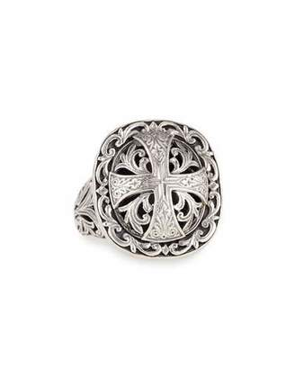 Konstantino Sterling Silver Etched Cross Ring