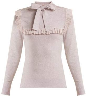 Joostricot - Ruffle Trimmed Tie Neck Stretch Knit Sweater - Womens - Light Pink