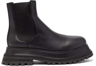 Burberry Chunky Platform Leather Chelsea Boots - Womens - Black