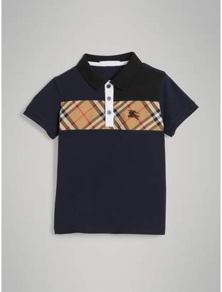 Burberry Vintage Check Panel Cotton Polo Shirt , Size: 12Y