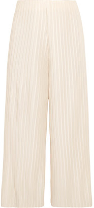 Solace London - Bonnie Cropped Plissé-satin Wide-leg Pants - Off-white $440 thestylecure.com