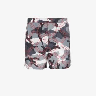 Valentino camouflage grid logo swim shorts