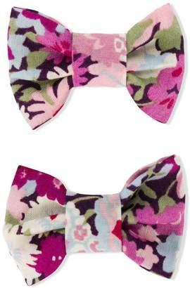 Bonpoint floral print bow-tie hair clip set