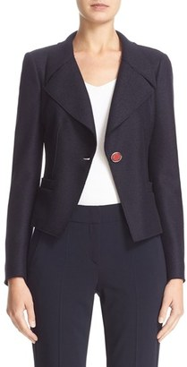 Women's Armani Collezioni Boiled Wool One-Button Jacket $1,195 thestylecure.com
