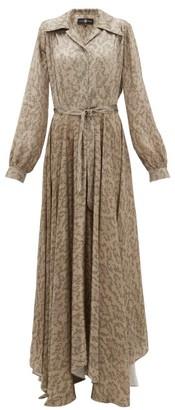Edward Crutchley Snake Print Belted Silk Satin Maxi Dress - Womens - Beige Multi