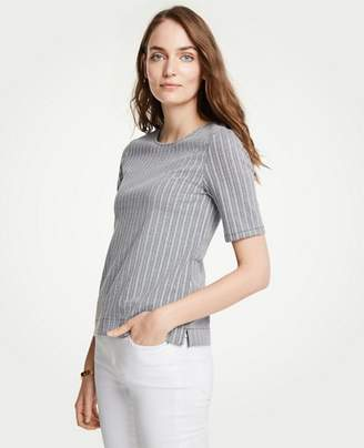 Ann Taylor Striped Knit Short Sleeve Top