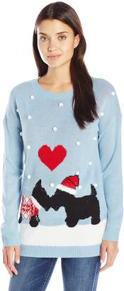 Notations Women's Schnauzer Ugly Christmas Sweater with 3D Snow
