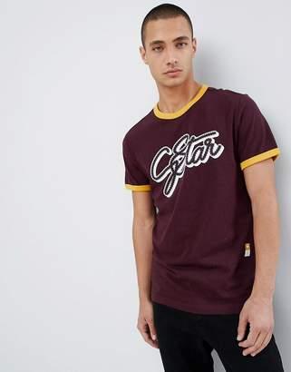 G Star G-star logo organic cotton ringer t-shirt in burgundy