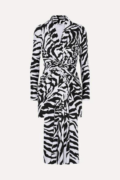 Zebra-print Stretch-satin Dress - Black