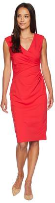Adrianna Papell Knit Crepe Draped Sheath Dress Women's Dress