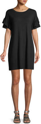Neiman Marcus Crewneck Ruffle-Sleeve Jersey Dress