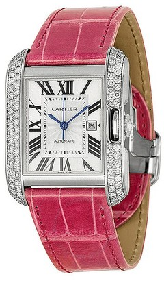 Cartier Tank Anglaise Large 18k White Gold Diamond Bezel Pink Leather Watch