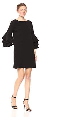 Nicole Miller Studio Women's Tiered Ruffle 3/4 Sleeve Cocktail Shift Dress with V-Back