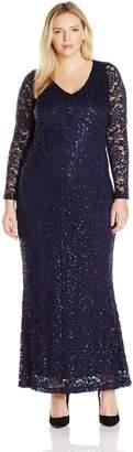 Marina Women's Plus Size Long Sleeve Sizewhite Lace Gown