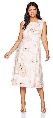 Calvin Klein Women's Plus Size Floral Printed Seamed A line Dress