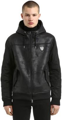 Hooded Faux Shearling & Nylon Jacket
