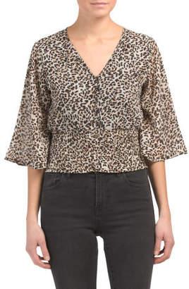 Juniors Kimono Sleeve Leopard Print Top